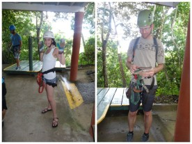 Suited up for our zip line tour.