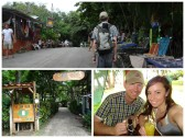 Upper photo: Bryce walking in downtown Playa Montezuma. Bottom: Eating at Cocolores on Playa Montezuma.