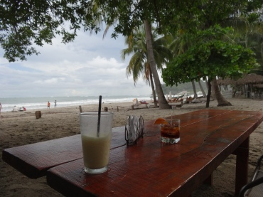 On Playa Samara eating at a taco place.