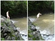 Manda jumping.