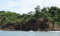 View of the coastline on our snorkeling trip. Look closely and you'll see a waterfall.