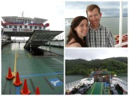 Left: Bryce driving the car onto the ferry's bottom deck. Upper right: On the ferry with a storm behind us. Bottom right: Approaching the thick jungle of Paquera.