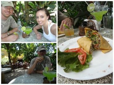 Eating at El Sano Banano on Playa Montezuma.