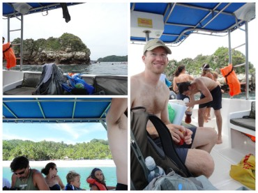 Upper left: Spot where we snorkeled. Bottom left: Tortuga Island where we had lunch. Right: Bryce relaxing after snorkeling.