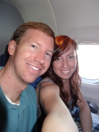 On the plane for our honeymoon in Costa Rica!
