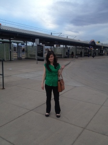 Me at the train station on my way to my first day of work at University of Colorado Denver.