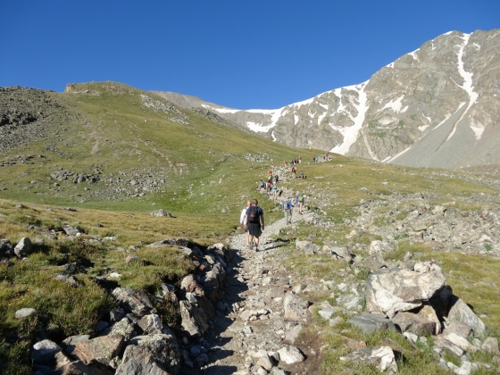The start of the steep, rocky part of the hike.