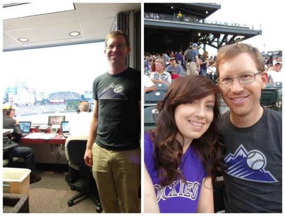 Colorado Rockies Baseball Game - We won tickets to this game from Bike to the Game Day and also got to visit a radio announcer booth during one of the innings.