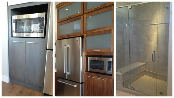 Some of the pricier things we (I) identified as priority desires: the grey cabinet color, glass cabinetry doors above the fridge, and a glass, frameless shower door.