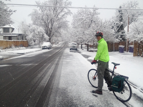 Okay, I lied. We bike commute, even in the snow!
