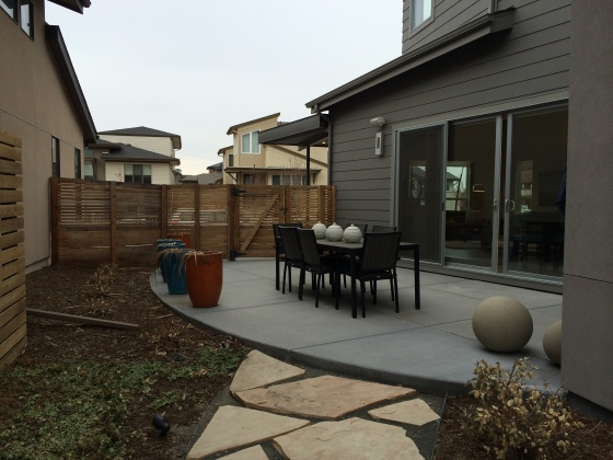 For comparison, the backyard of the model home at Midtown. Much bigger than Stapleton!