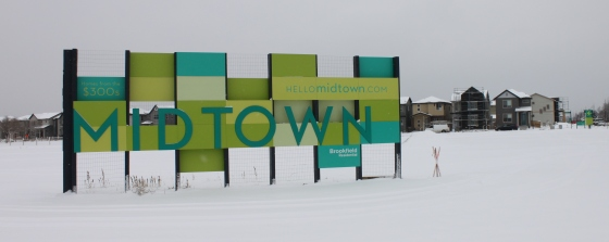 "The Midtown entrance sign on a snowy day. Notice how the sign says ""From the 300s"" on the upper left. Ha! What a joke."