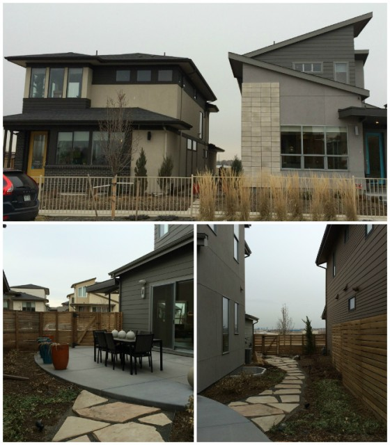 The outside of the Midtown models by Brookfield Residential. Contemporary look, spacious, and decent-sized yards on the side of the house.